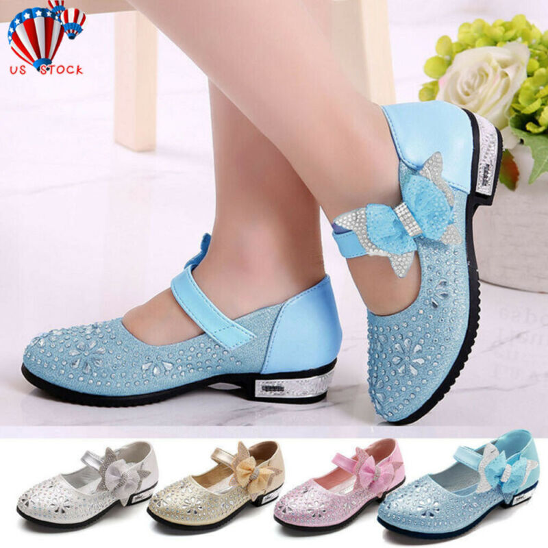 Kids Baby Girls Shoes Crystal Bling Sequins Single Dance Pri