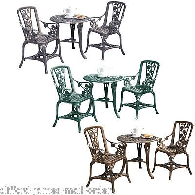 Garden Furniture - 3pc Garden Bistro Set 2 Chairs & Table Furniture PVC Outdoor Patio Dining NEW