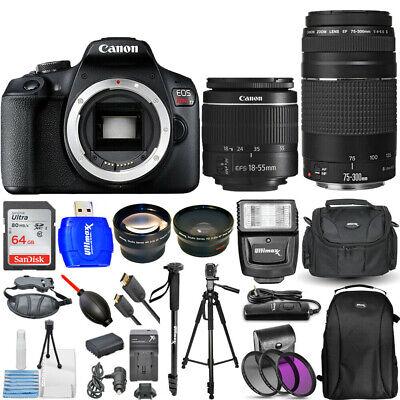 Canon EOS Rebel T7 4 Lenses 18-55mm + 75-300mm + 64GB Top Value Bundle