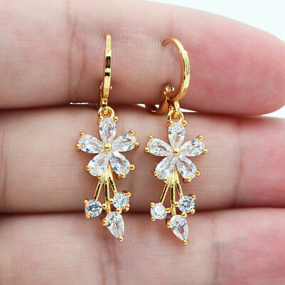 - 18K Yellow Gold Filled Women Elegant Crystal Flower Topaz Zircon Drop Earrings