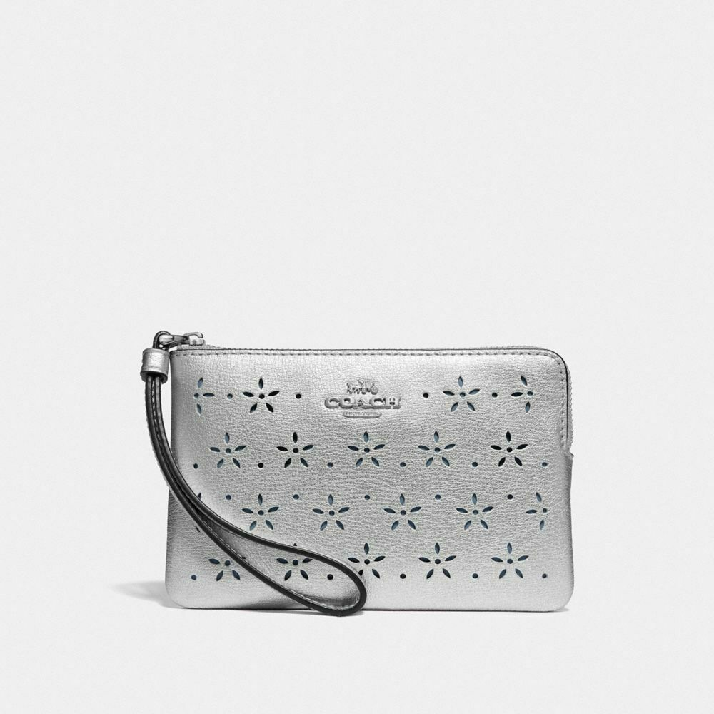 New Coach F58032 F58035 Corner Zip Wristlet New With Tags Silver Metallic Textured Leather