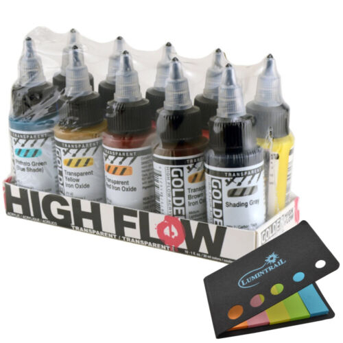 Golden Artist Colors High Flow Acrylics, 10 Count Multi-Colored + Sticky Notes