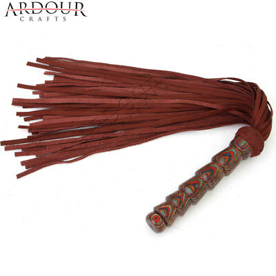 Genuine Real Nubuck Thick Leather Flogger 50 Tails Laminated Carved Wood Handle Leather Carved Wood