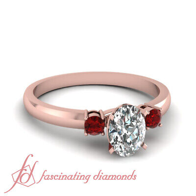 1/2 Ct Oval Shape Conflict Free Diamond And Ruby Three Stone Engagement Ring GIA