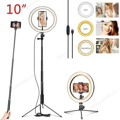 "10"" LED Ring Light Selfie Camera Adjustable Tripod Stand for YouTube Live Stream"