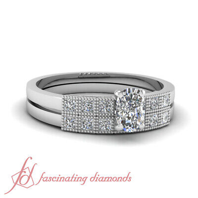 .80 Ct Cushion Cut VS2 Diamond Engagement Rings And Wedding Bands For Women GIA