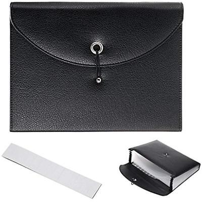 Expanding File Jackets Pockets Pu Leather Folders-13 A4 Letter Size Paper With