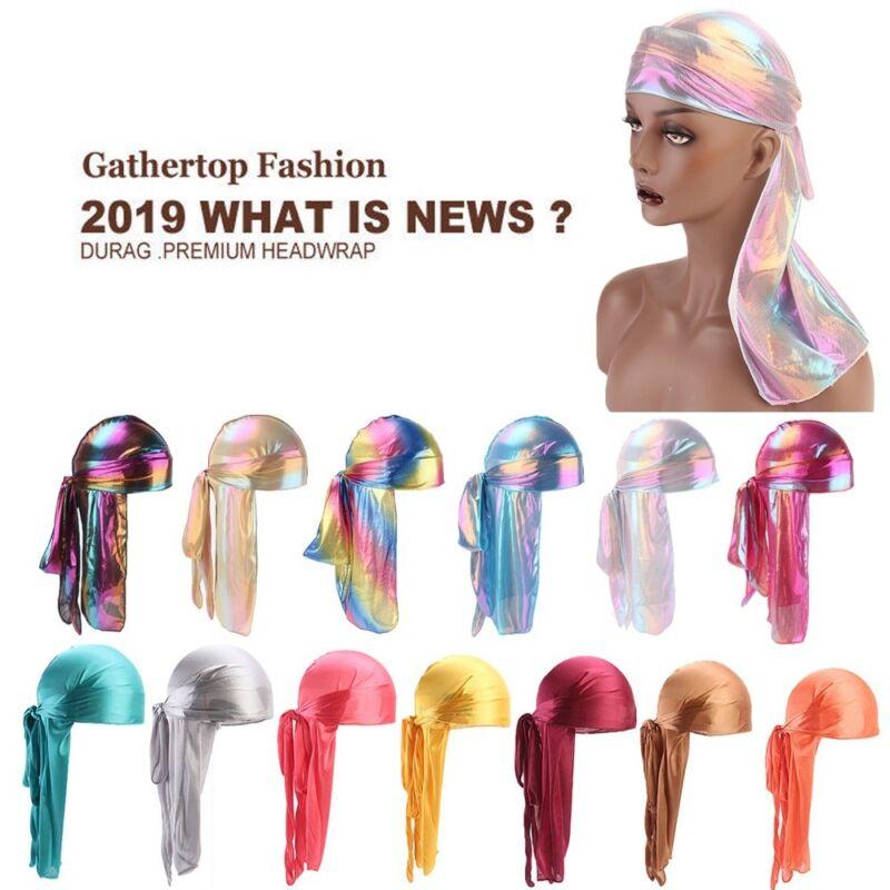 Unisex Men Women Silk Polyester Bandana Hat Durag Rag Tail H