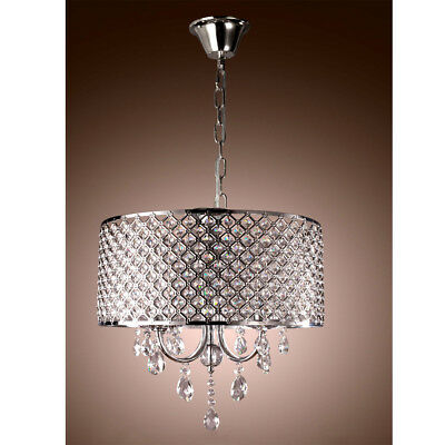 Crystal Chandelier Ceiling Light Pendant Fixture Drum Lamp Shade 4 lights MX