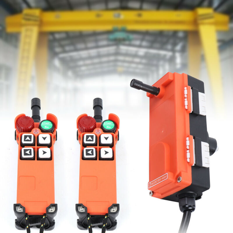 2pcs Transmitter & Receiver Hoist Crane Radio Industrial Wireless Remote Control