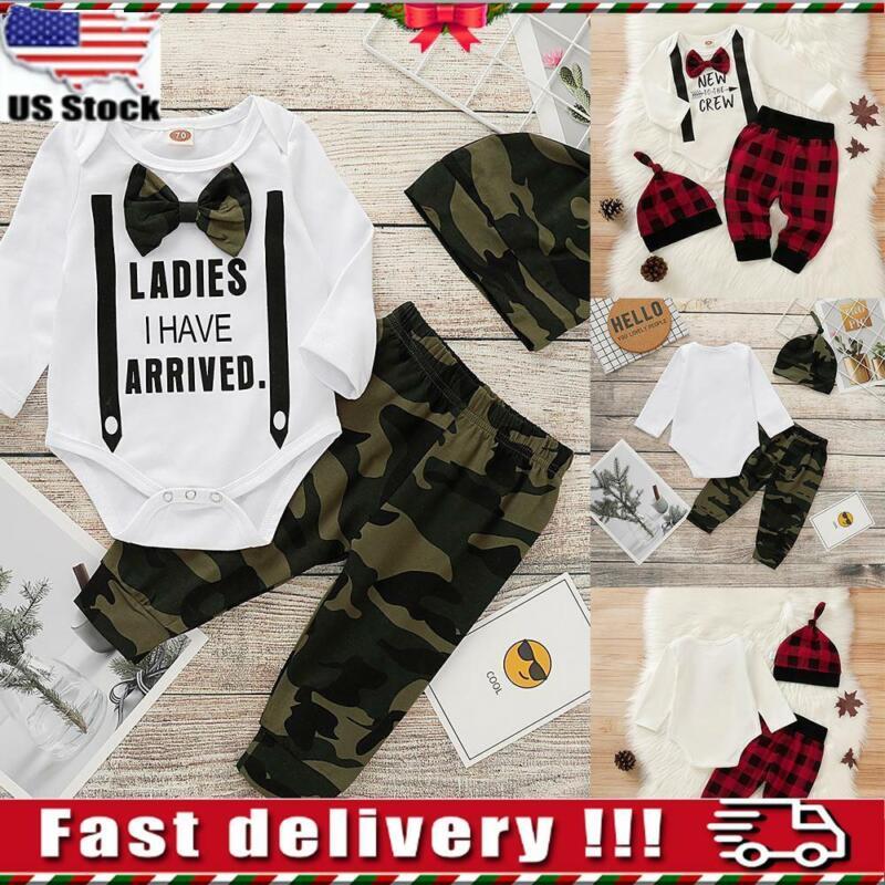 3Pcs/Set Newborn Kids Baby Boy Romper Tops Pants Hat Clothes Gentleman Outfits