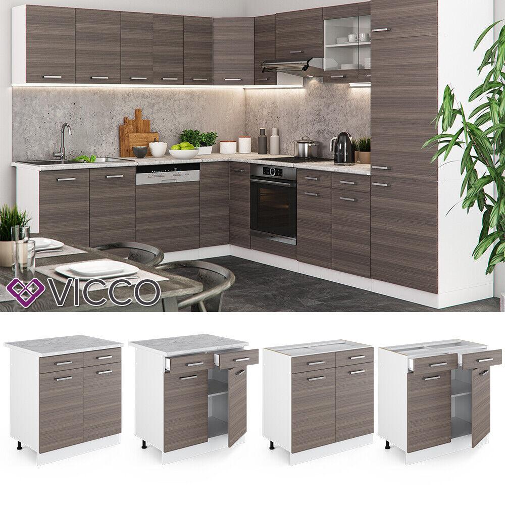 VICCO Küchenschrank Hängeschrank Unterschrank Küchenzeile R-Line Schubunterschrank 80 cm edelgrau