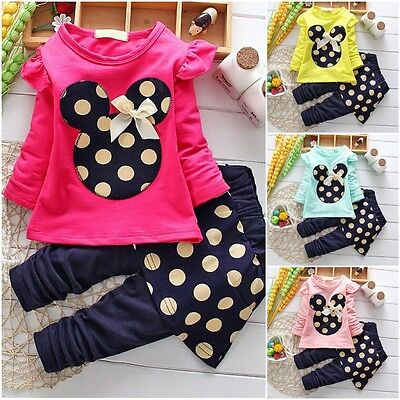 Toddler Kids Baby Girls Minnie Mouse Clothes T-shirt Tops+Pants 2PCS Outfits Set - Kids Minnie Mouse Outfit