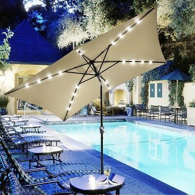 10'x6.5' Patio Outdoor Aluminum Umbrella Solar LED Light Crank Tilt Beige Cover ()