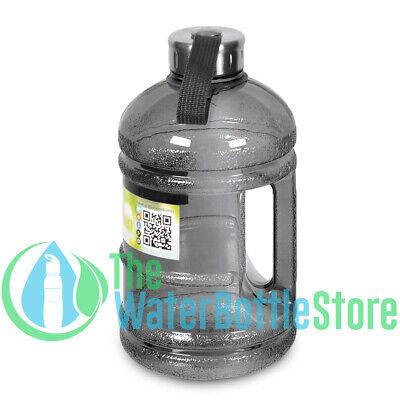 - Half Gallon 64oz BpA Free Drinking Water Bottle 2 Liter Handle Steel Cap Black