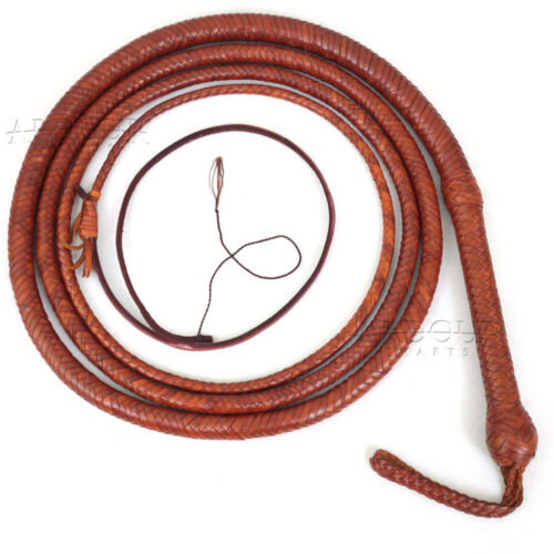 Cowhide Leather 8 Foot 16 Plait Bullwhip Indiana Jones Style Bull Whip