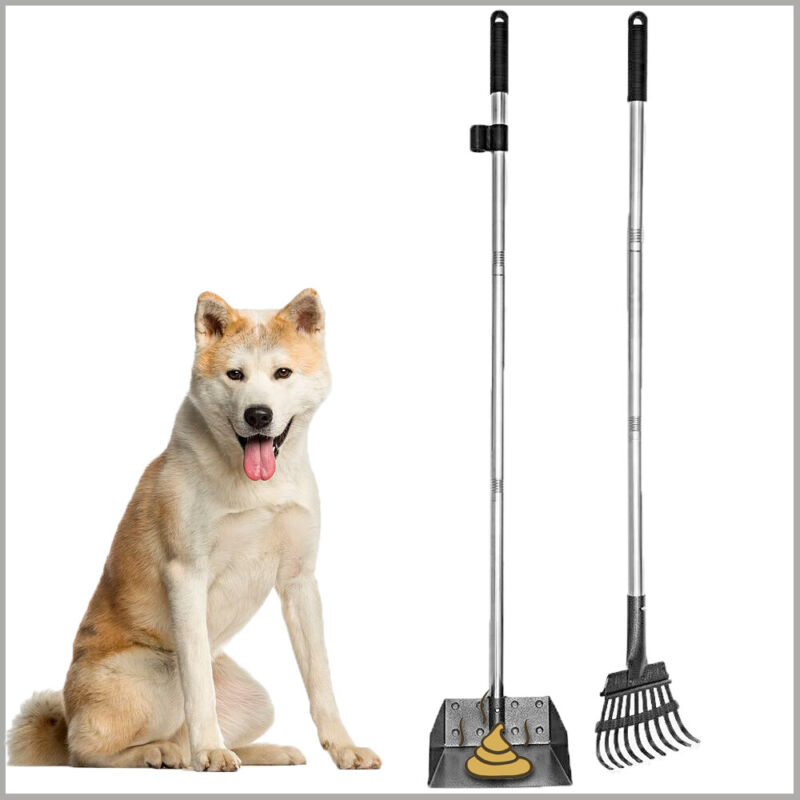 Dog Pooper Scooper for Large and Small Dogs Stainless Steel Removable Rake