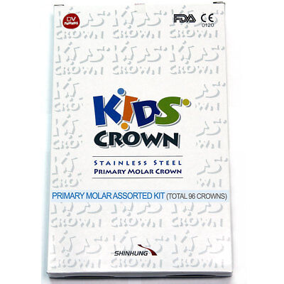 96 CROWNS KIDS CROWN (STAINLESS STEEL PRIMARY MOLAR) Certified by FDA, CE