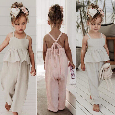 US Kids Baby Girl Clothes Solid Color Ruffle Romper Jumpsuit Overall Outfit Set