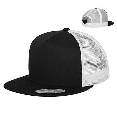 Weiß Mesh Cap (Flexfit Trucker Cap Kappe Basecap Baseball Mesh 5-Panel Schwarz Weiss Neu 6006T)