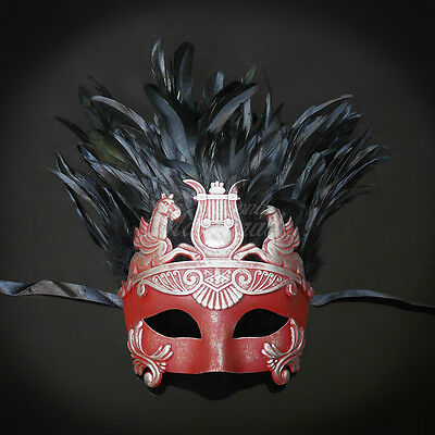 Mens Greek Masquerade Mask Silver Red Roman Warrior Venetian Mask with - Masquerade Mask With Feathers