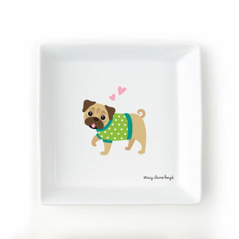 Pug Jewelry Trinket Dish