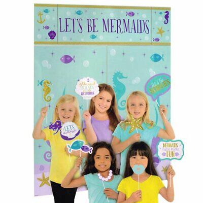 MERMAID WISHES SCENE SETTER Party Wall Decoration Room Photo Prop Fish Beach