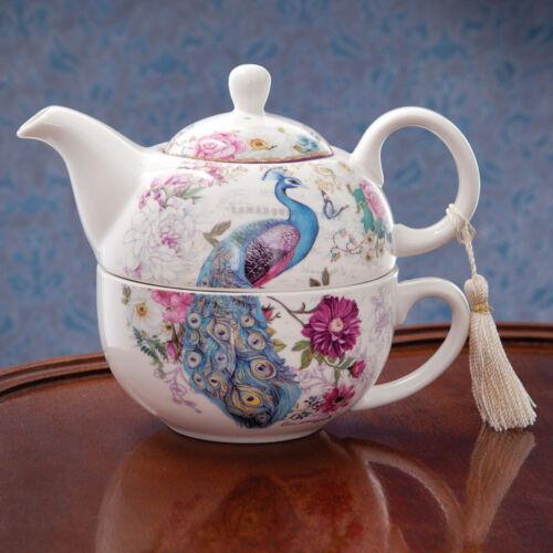 Porcelain Tea for One Tea Set with Decorative Keepsake Gift Box, Peacock