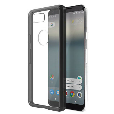FOR GOOGLE PIXEL XL 2 | CLEAR BLACK PERIMETER SEE-THRU HYBRID CASE COVER