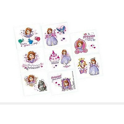 16 Disney Sofia the First Childrens Birthday Party Loot Favor Tattoos Sheet - Sofia The First First Birthday