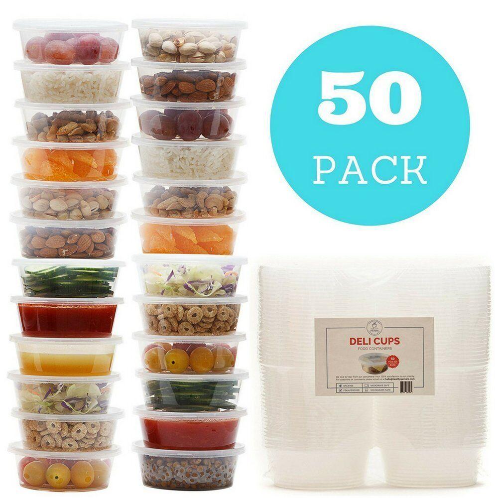 50 PCS 8oz Plastic Food Storage Containers with Lids-Restaur