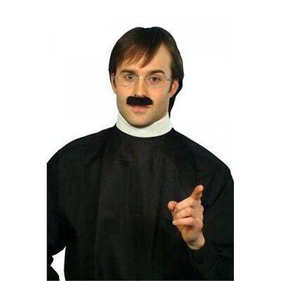 Men's Vicar Collar & Moustache Set - Dress Fancy Priest Kit Costume - Reverend Costume
