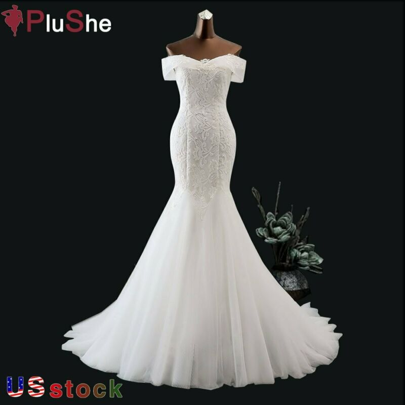 US Boat Neck Sequined Lace Wedding Dress Beach Mermaid Gown Bride Dresses 8-24W