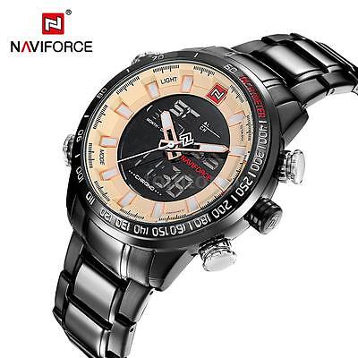 NAVIFORCE Dual Digital Watch Quartz Men Stainless Steel Luminous + Gift Box ()