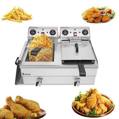 Zokop 3400w Electric Deep Fryer 25qt Commercial Tabletop Restaurant Fry Basket