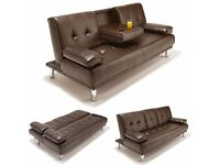 Brand New Manhattan Black / Brown Leather Sofa Bed with Cupholders, Cinema Style Click Clack Sofabed