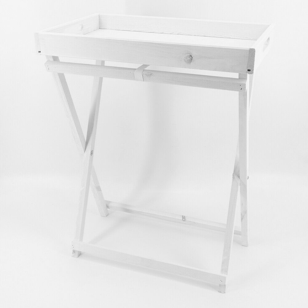 Landhaus Tabletttisch klappbar Beistelltisch Serviertablett Klapptisch weiß