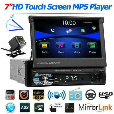 """7"""" Single 1 DIN Flip out Touch Screen Car MP5 Stereo Radio Bluetooth with Camera"""