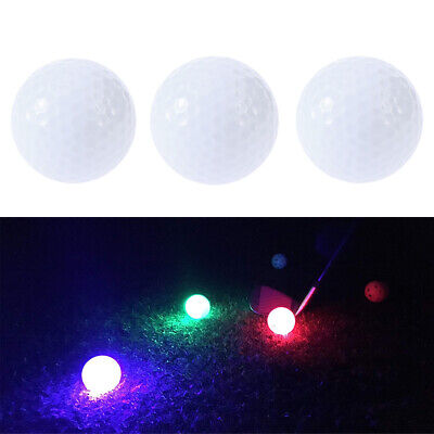 3er Pack leuchtender LED Golfball Golfbälle Nachtgolfball Rot Grün Rosa 3 Farben