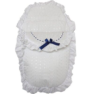 Beautiful Romany Style Navy Ribbon & White Broderie Anglaise Footmuff Cosy Toes