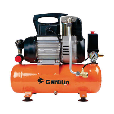 GENTILIN COMPRESSOR DRY SILENCED 0.75KW 1HP 10BAR TANK 5LT NOISE 72DB