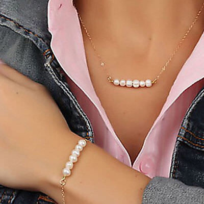 Women Pearl Pendant Gold Chain Choker Chunky Statement Bib Necklace + Bracelet - Gold Bead Necklaces