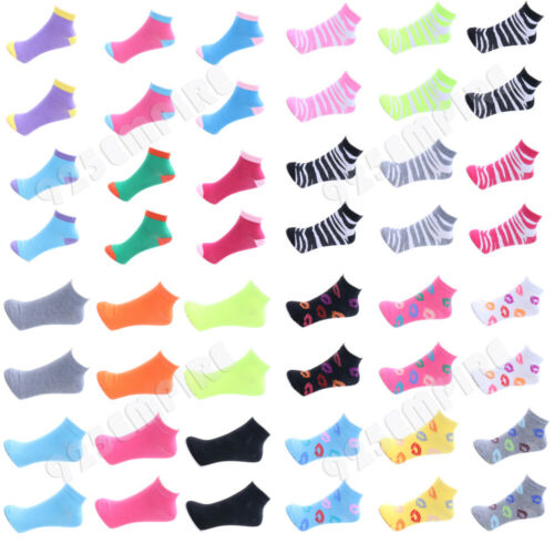 12 Pairs lot Wholesale Women Casual Low Cut Ankle Socks 9-11