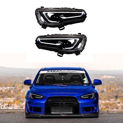 Audi Style Blackout Headlights For Mitsubishi Lancer / EVO X 08-17 Bi-Projector for sale  Dayton
