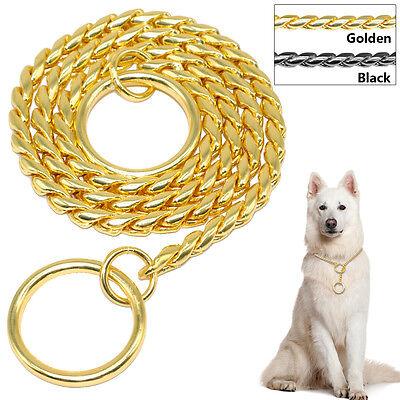 Choke Chain Dog Show Collars Chrome Steel Pet Dog Training Collar Gold Black ()