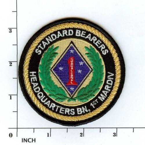 "USMC HQ Bn 1st MarDiv 3.5"" PATCH Headquarters Battalion Marines Standard Bearers"