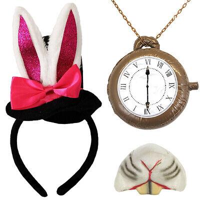 ITH BUNNY EARS WHITE RABBIT KIT FANCY DRESS COSTUME  (Mini Black Top Hats)