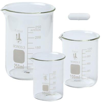 Boro Glass Low Form Beaker Set With Magnetic Stir Bar 3 Sizes - 50 100 250ml