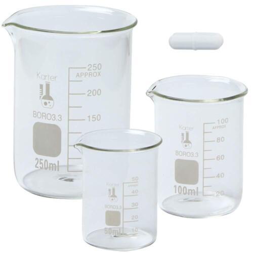 Boro Glass Low Form Beaker Set with Magnetic Stir Bar, 3 Sizes - 50, 100, 250ml,