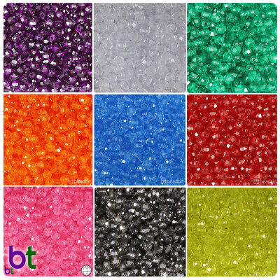 Plastic Beads (BeadTin Transparent 6mm Faceted Round Craft Beads (750pcs) - Color)